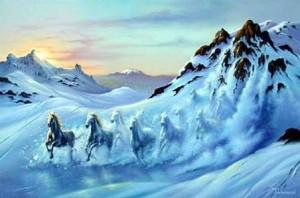 cavalli e neve